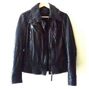 ALL SAINTS Belvedere Black Leather Jacket